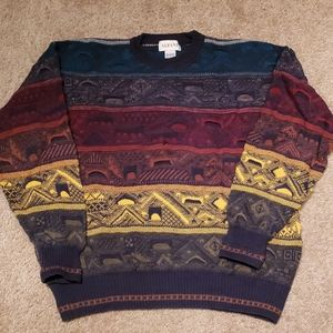 Vtg 90s Alfani Cosby Colorful Sweater sz M